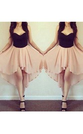 A-line Sleeveless Chiffon Sweetheart High-low Homecoming Dress