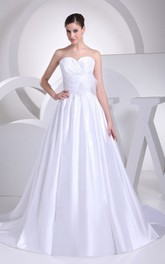 Sweetheart Ruched A-Line Ball Gown With Pleats and Low-V Back