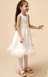 Flower Girl Scoop Neck Empire Organza Midi Dress With Floral Hem
