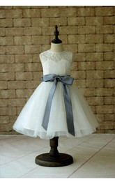High Neck Sleeveless Organza Ball Gown With Keyhole and Bows