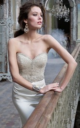 Stunning Beaded Jeweled Embellished Bodice Satin Trumpet Dress