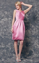 V-neck A-line Short Satin Dress With Bow