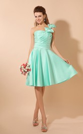 Single-Strap Satin Knee-Length Dress With Ruching and Bow
