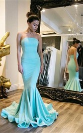 Mermaid Trumpet Satin Strapless Sleeveless Zipper Dress