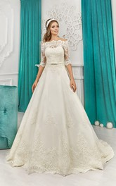 A-line Off-the-shoulder Half Sleeve Appliques Bow Dress