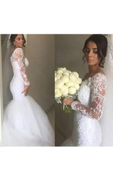 Gorgeous Off-shoulder V Neck Lace Mermaid Gown With Long Sleeves