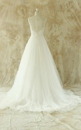 Sleeveless Illusion Back A-Line Floor-Length Tulle Wedding Dress