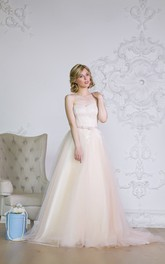 A-Line Floor-Length Sweetheart Sleeveless Corset-Back Organza Dress