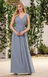 Bateau Neckline Chiffon A Line Floor Length Dress Dorris