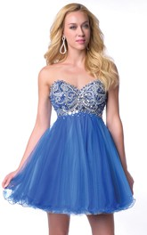 Beaded Corset Tulle Skirt Short Homecoming Dress With Sweetheart Neck