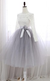 A-Line Jewel Neck Lace Sashes Tea-Length Prom Dress
