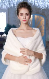 Winter Bridal Wedding Shawl Thick White Warm Fur Double-Sided Wool Shawl