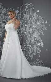 A-Line Floor-Length Sweetheart Sleeveless Satin Criss Cross Beading Court Train Lace-Up Back Criss cross Dress