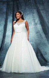 A-Line Floor-Length Bateau Neck Sleeveless Tulle Court Train Illusion Beading Dress