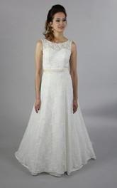 Lace A-Line Sleeveless Bateau Neck Dress With Beaded Waistbelt