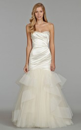 Glamorous Asymmetrical Ruched Satin Bodice Tulle Dress With Sheer Back