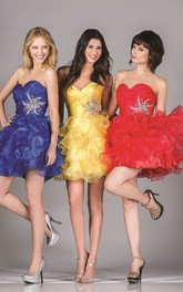 A-Line Mini Sweetheart Sleeveless Organza Dress With Ruffles And Criss Cross