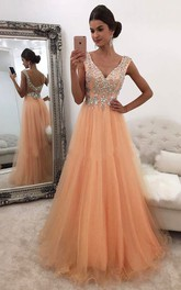 A-Line Tulle V-neck Short Sleeve Zipper Low-V Back Dress