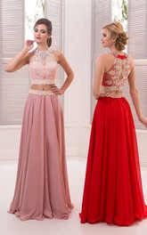 A-Line Floor-Length Sweep High-Neck Sleeveless Chiffon Beading Appliques Illusion Dress