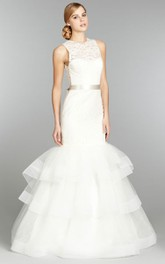 Unique Lace Jewel Neck Tiered Tulle Dress With Ribbon Belt