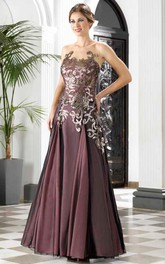 A-Line Appliqued Sleeveless Maxi Prom Dress With Pleats And Deep-V Back