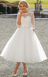 Tea-Length A-Line Bateau Neck Illusion Sleeve Bowed Tulle Wedding Dress