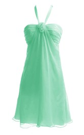 Halter Ruched Empire Short Dress With Flowers