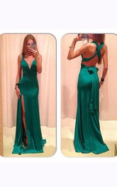 Sleeveless V-neck Long Chiffon Sheath Dress