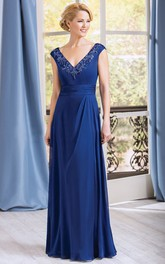 Cap-Sleeved V-Neck A-Line Gown With Appliqued Neckline
