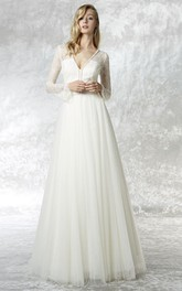 A-Line Illusion Sleeve Lace V-Neck Tulle Wedding Dress With Brush Train