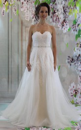 Sweetheart A-Line Lace and Tulle Dress With Beaded Waist