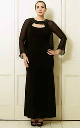 Long-Sleeve Scoop-Neck Ankle-Length Chiffon Plus Size Prom Dress
