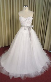 Tulle A-Line Sweetheart Ball Gown With Crystal Detailing and Bow Sash