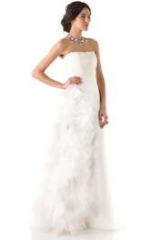 Long Strapless Ruffled A-line Organza Dress With Ruffles
