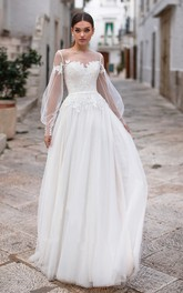 Elegant Bateau Long Sleeve Floor Length Wedding Dress with Applique and Pleats