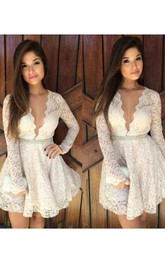 A-line Long Sleeve Lace Plunging Neckline Scalloped Short Mini Homecoming Dress