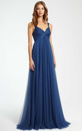Empire Sleeveless Strapped Ruched Tulle Bridesmaid Dress With Pleats