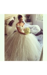 Off-shoulder V Neck Layered Tulle Ball Gown With Lace