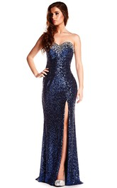 Sleeveless Sweetheart Split-Front Sequin Prom Dress