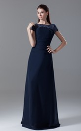 Bateau-Neck Short-Sleeve Floor-Length Chiffon Dress With Beading