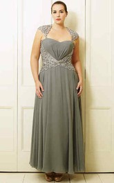 A-Line Sleeveless Beaded Ankle-Length Queen-Anne Chiffon Plus Size Prom Dress