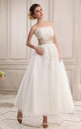Strapless Ankle-Length Dress With Appliques and Zipper-Back