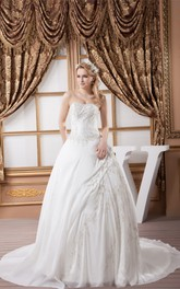 Strapless Embroidered Beading and Ball-Gown With Ruching