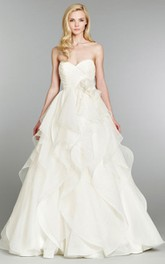 Charming Crisscross Dot Ruched Bodice Organza Ball Gown With Floral Detail