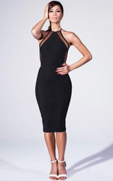 summer style criss cross midi pencil backless party dress