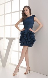 One-Shoulder Ruffled Short Chiffon Dress With Peplum