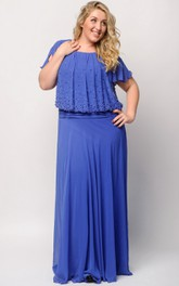 Empire Floor-Length Bateau Short Sleeve Empire Chiffon Beading Dress