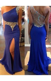 Sexy One Shoulder Royal Blue Evening Party Dress 2018 Split Prom Dress With Crystal Beadings
