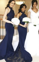 Sleeveless Mermaid Halter Lace And Jersey Bridesmaid Dress With Train And Appliques