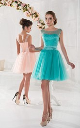 A-Line Short Jewel Sleeveless Tulle Pleats Lace-Up Dress